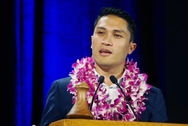 Congressional Candidate Kaniela Ing speaks at the 2018 Democratic Party convention held at the Hilton Waikaloa Resort in Kona, Hawaii.