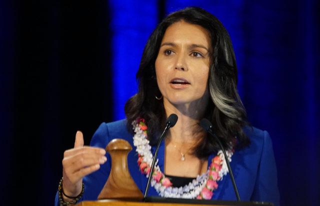 Congresswoman Tulsi Gabbard speaks during the 2018 Hawaii Democratic Convention held at the Hilton Waikaloa in Kona, Hawaii.