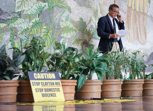 Senator Clayton Hee at press conference held at Leiopapa Kamehameha Building lobby.