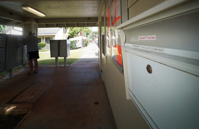The Courtyards at Mililani Mauka with right, Management Specialists Company mailbox outside managers office.