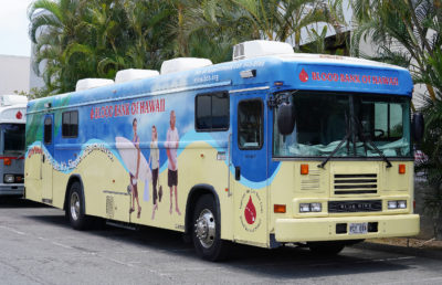 Blood Bank of Hawaii mobile bus at their Dillingham headquarters.