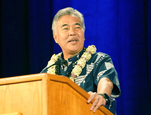Governor David Ige Democratic Party Convention HIlton Waikaloa. Kona, Hawaii.