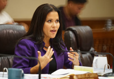 Honolulu City Council Vice Chair Kymberly Pine before 3rd reading vote on Bill 35 rideshare bill.