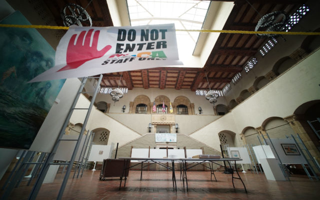 'Do not Enter' sign requesting people not to enter the art exhibit area with the skylight and entrance area to Honolulu Hale. Honolulu Hale has many issues with water leaks and air conditioner issues.