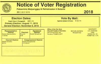 office of elections voter registration notice