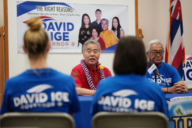 Right, UPW State Director Dayton Nakanelua and their membership endorses Governor David Ige 2018 campaign during press event today.