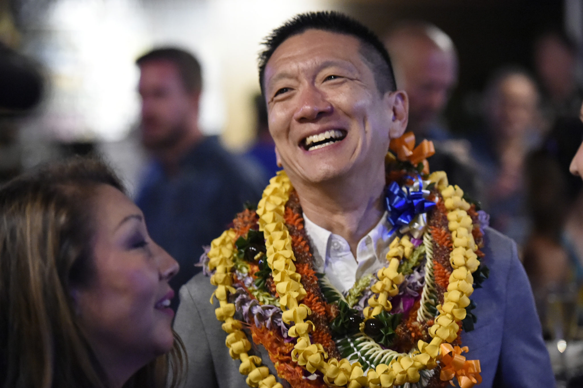 <p>Lt. Gov. Doug Chin at his headquarters as the news sinks in that he will lose his first run for elective office. The former attorney general was placing second in the 1st Congressional District race.</p>