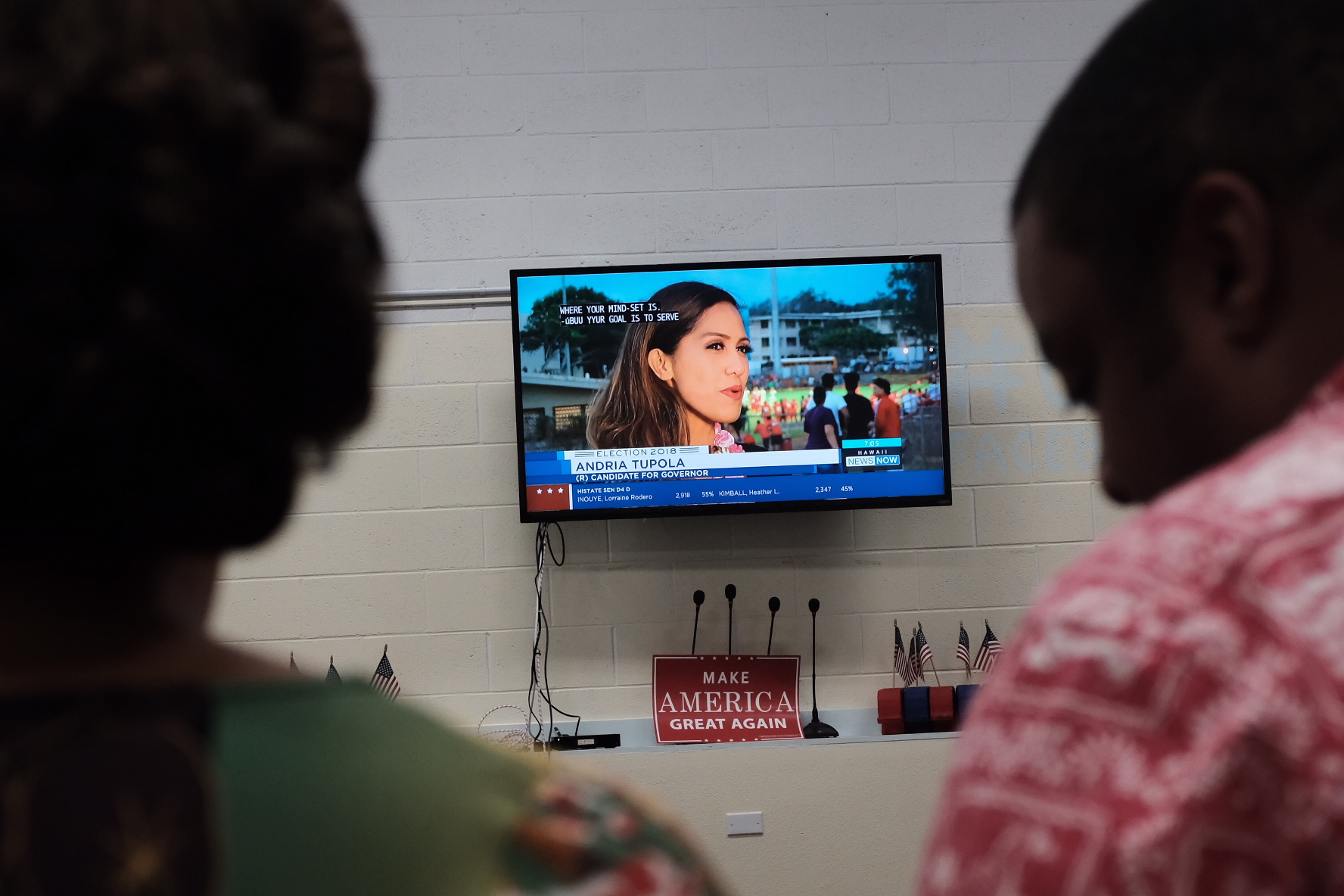 <p>State Rep. Andria Tupola spent Saturday night at a high school football game as she was winning the Republican gubernatorial nomination.Hawaii GOP chair Shirlene Ostrov, left and executive director Aaron Wilson watch from party headquarters as Tupola gives a TV interview.</p>