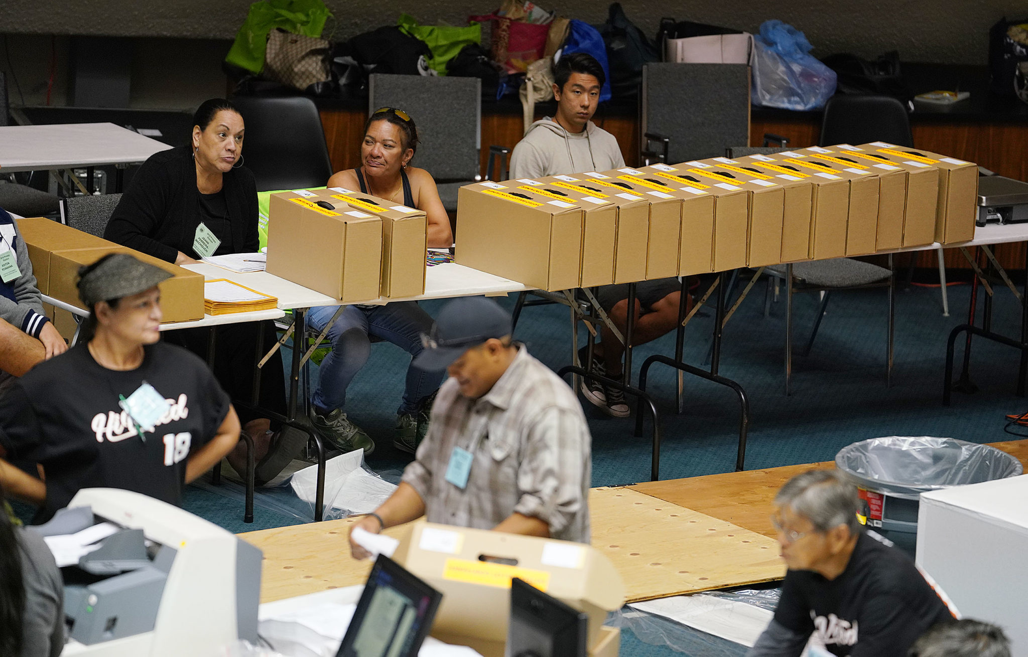 <p>Paper ballots await counting.</p>