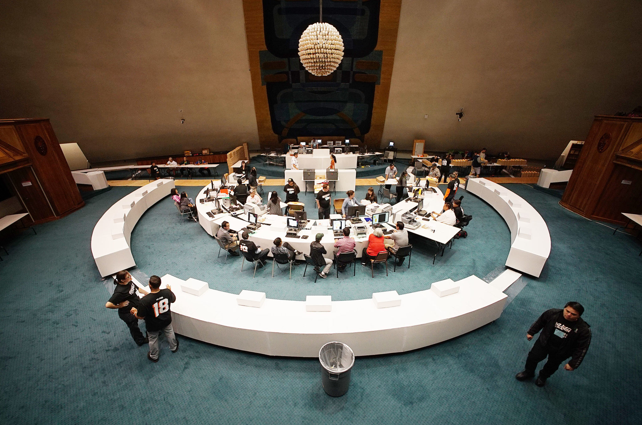 <p>Office of Elections officials set up shop in the Senate chambers at the Capitol to tally up the results.</p>