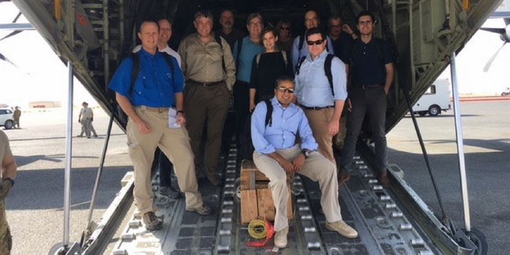 <p>The Defense Innovation Board in 2016, after landing at Bagram Air Force Base in Afghanistan (I think). That's me in the middle. I proudly participate in the DIB in my personal capacity, not as a representative of Code for America.</p>