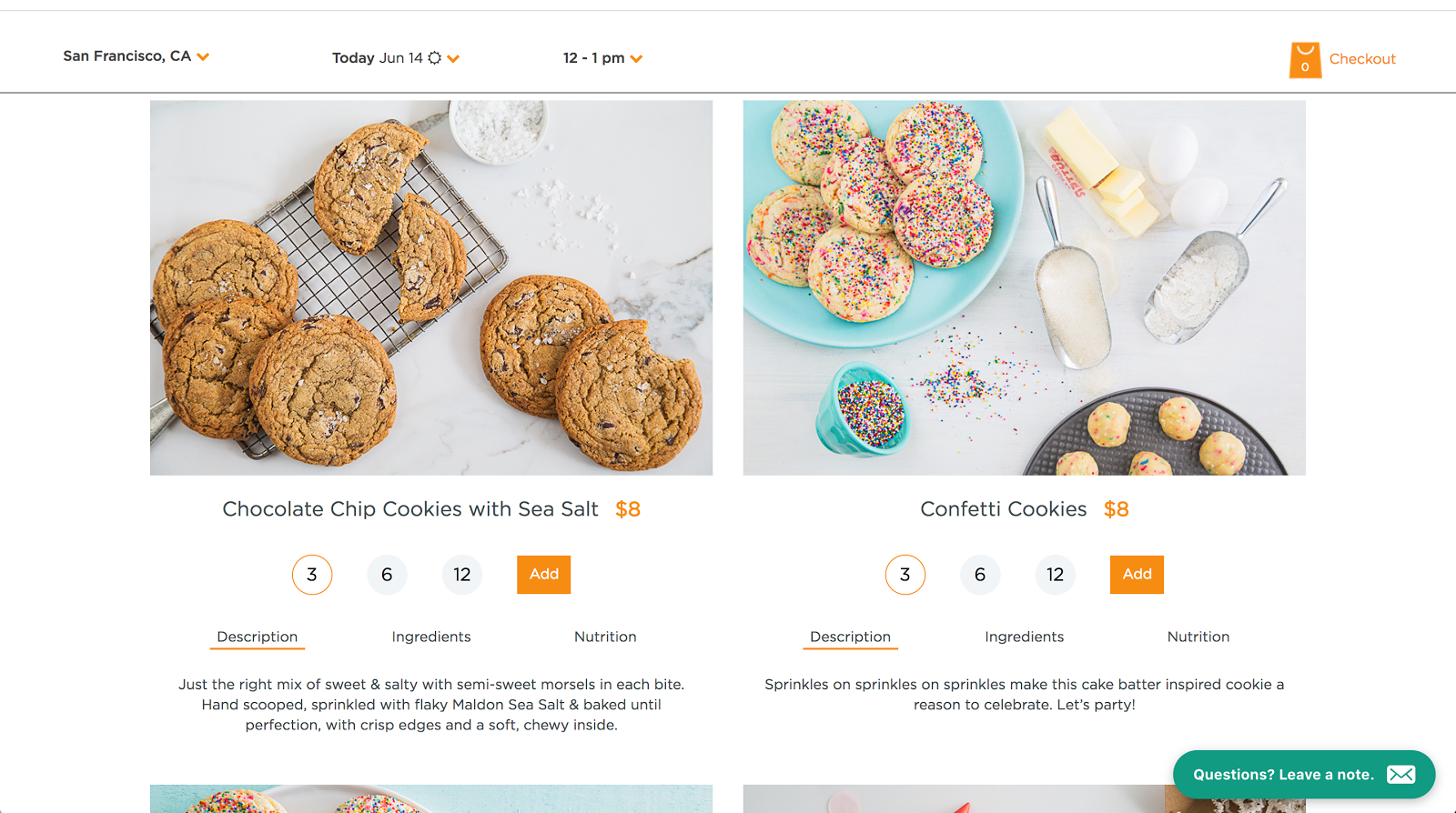 <p>On-demand or same day cookie delivery in San Francisco.</p>