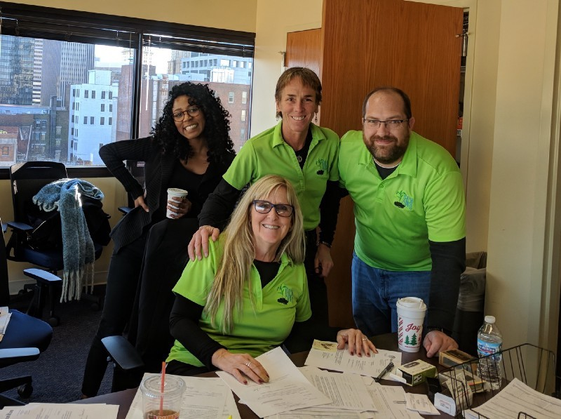 <p>Code for America designer Jazmyn Latimer with Christine Jones, Ann Ohmer, and Dave Harvey from the Hamilton County Public Defender's Fresh Start Clinic</p>