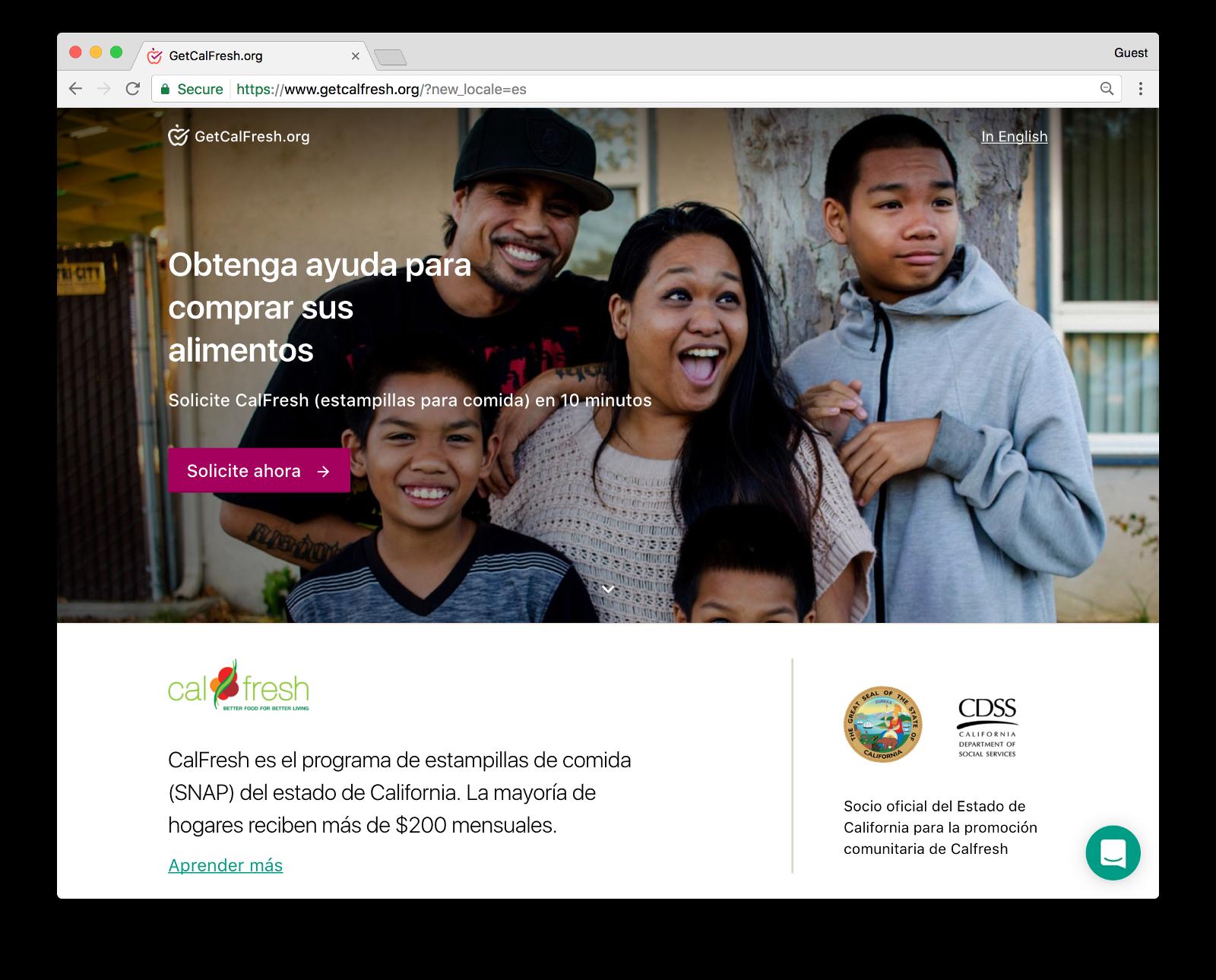 <p>GetCalFresh.org in Spanish</p>