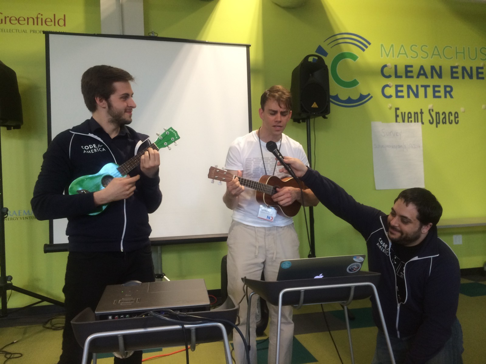 <p>Code for Boston Captains perform the (unofficial) Hack for Change theme song</p>