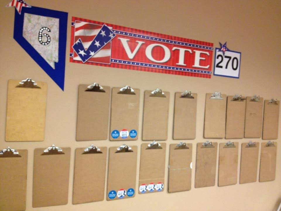 <p>Clipboards ready for use at a Nevada field campaign office<br /></p>