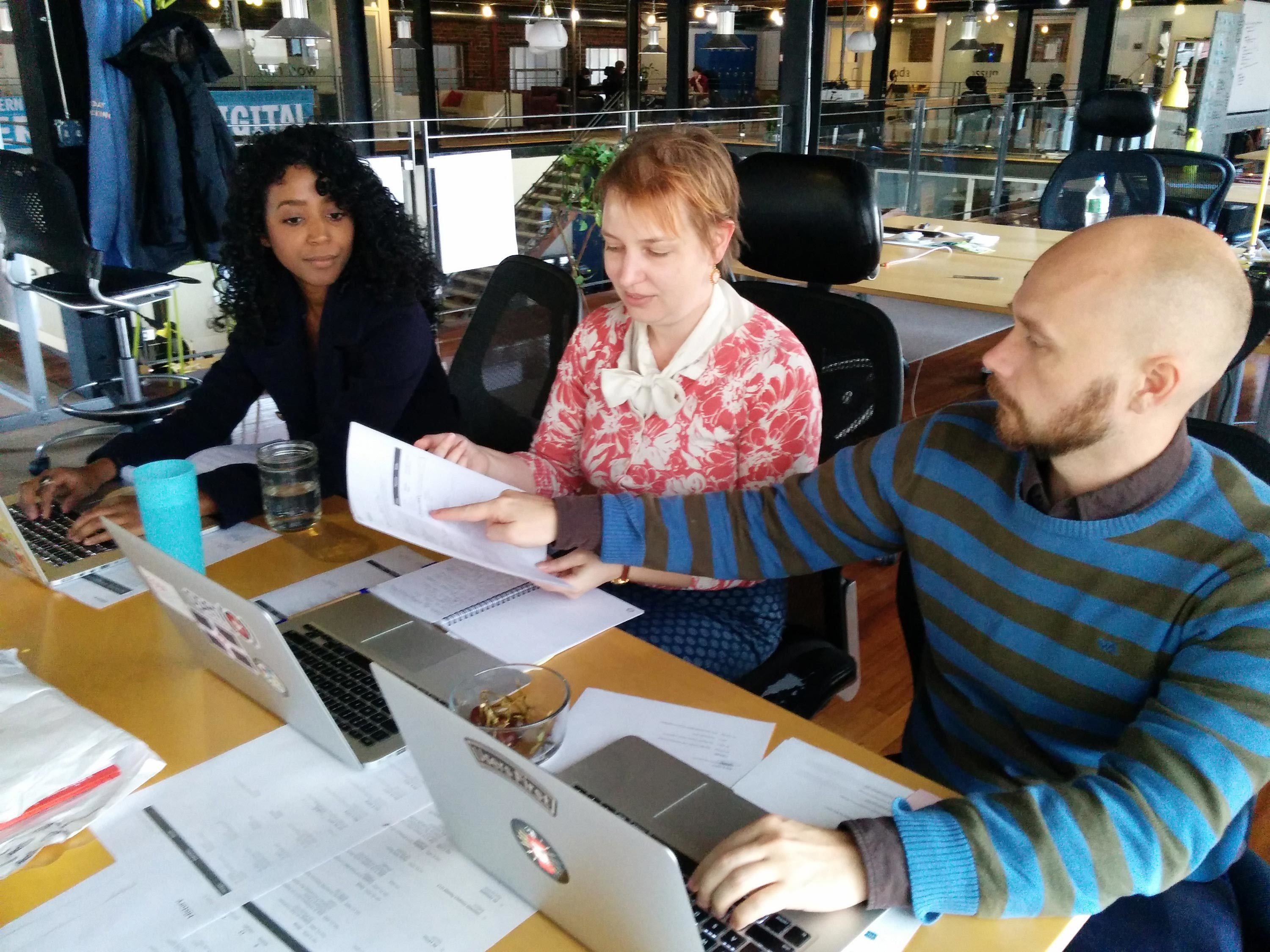 <p>The team discusses how to integrate feedback on ideas from interviews with legal aid groups and District Attorneys.</p>