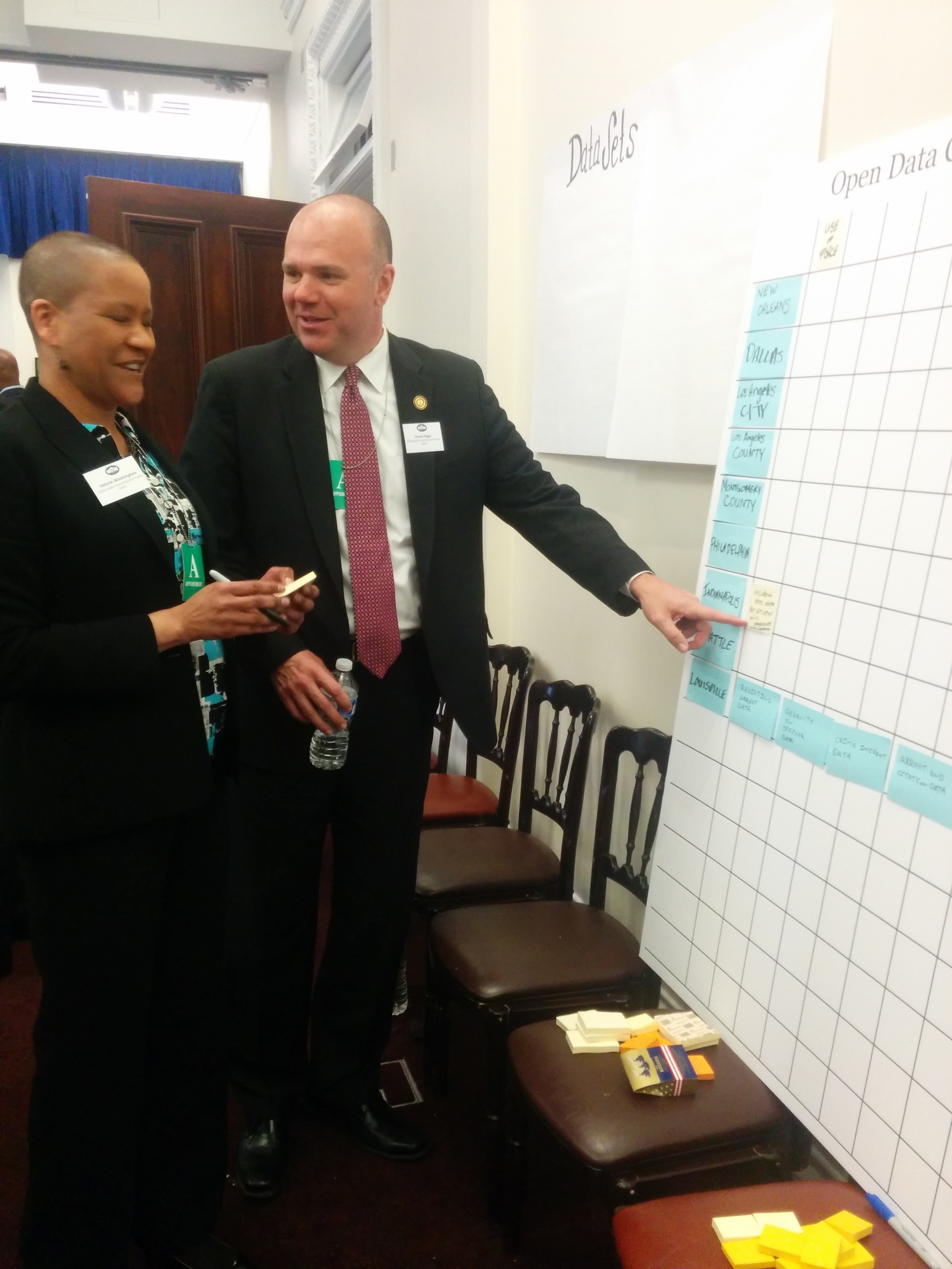 <p>Director of Public Safety Troy Riggs and Deputy Director of Public Safety Valerie Washington commit to opening IMPD datasets at the White House gathering on transparency and accountability.</p>