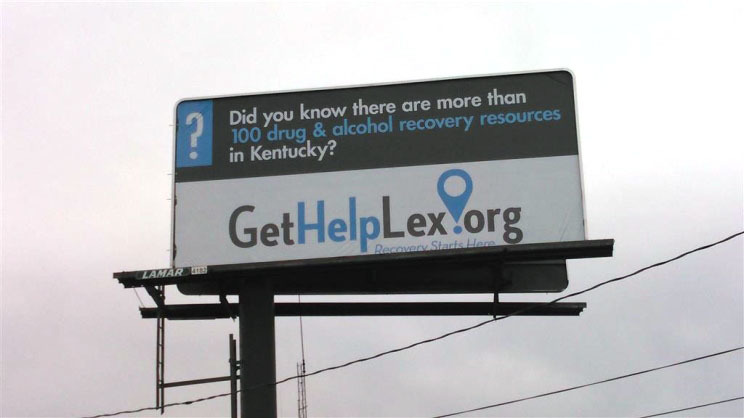 <p>A billboard advertising GetHelpLex.</p>