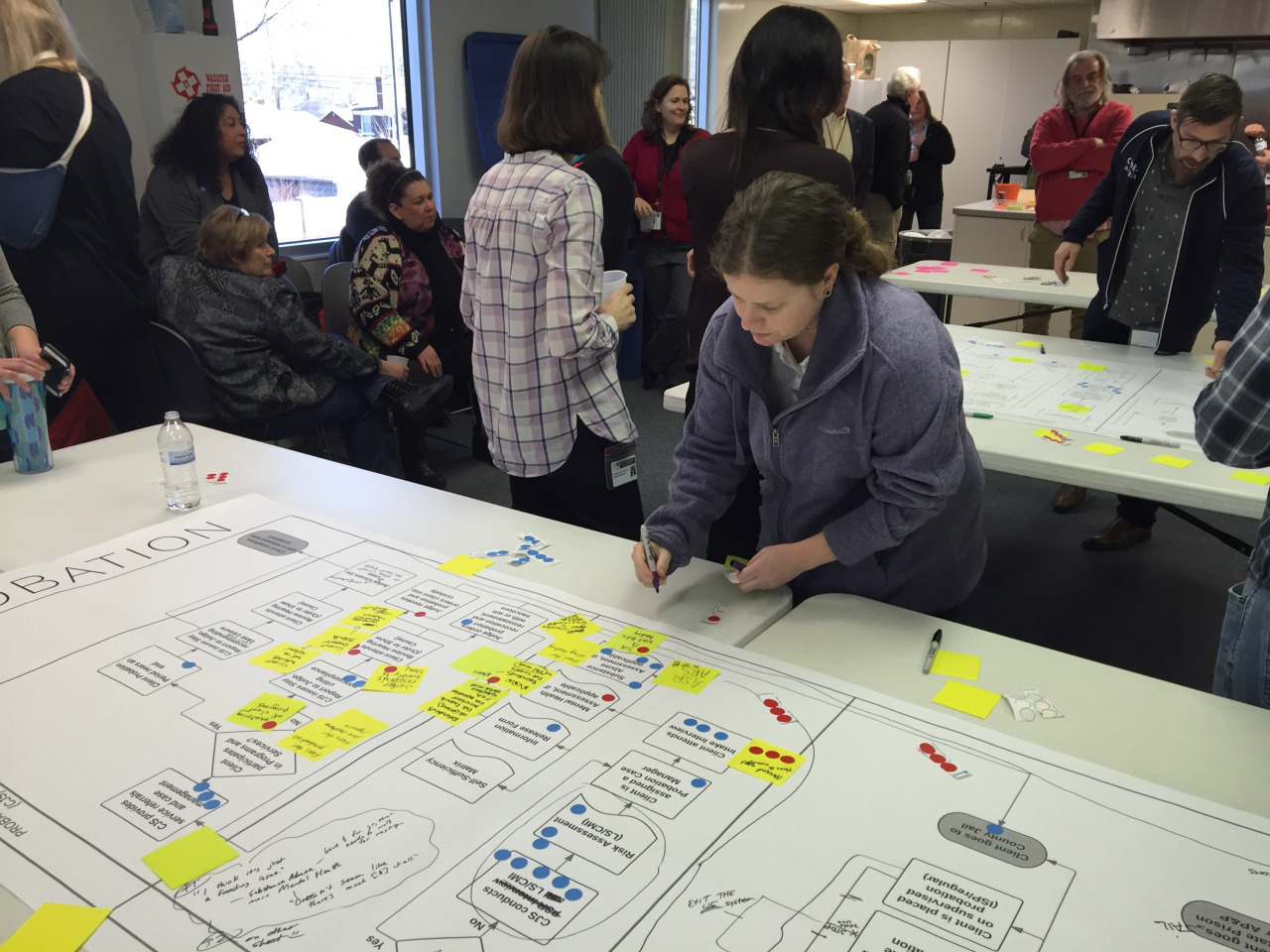 <p>Ben Peterson, 2016 Code for America Fellow with Team Salt Lake County works with a Criminal Justice System (CJS) case manager as they document observed opportunity points within CJS at a system brainstorming workshop.</p>