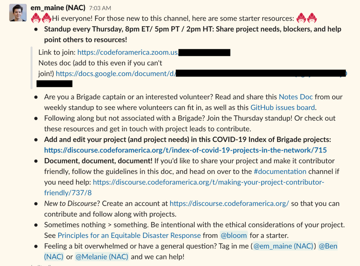 Screenshot of a pinned Slack message outlining channel norms and resources