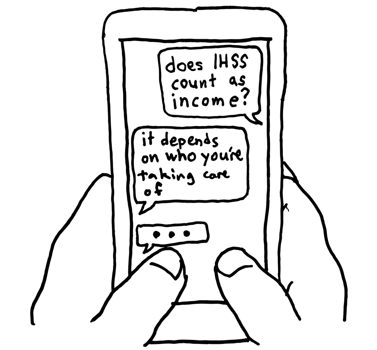 Sketch of a chat conversation between a tax filer and tax assister via text