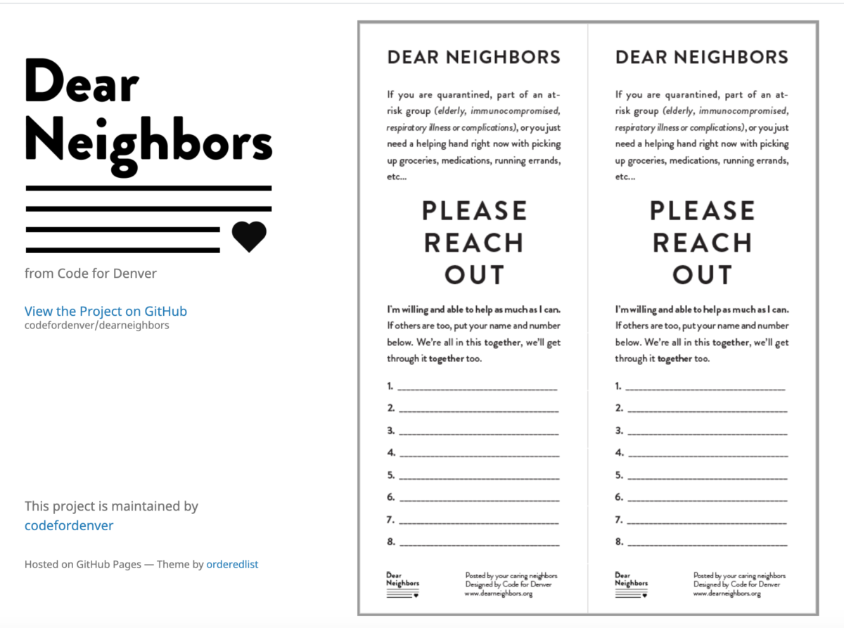 A printable poster gives people the option to sign up for help from their neighbors
