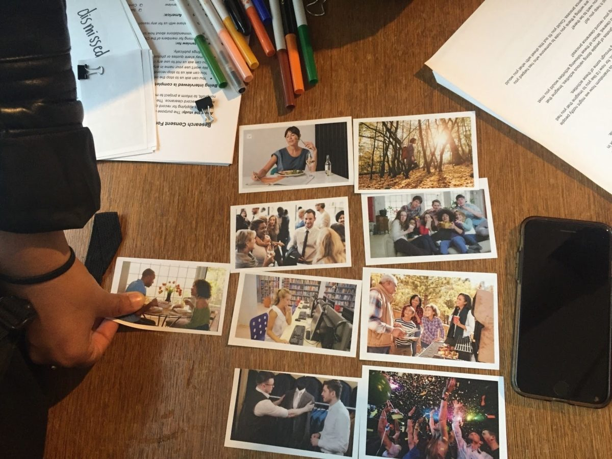 Photos laid out on a table