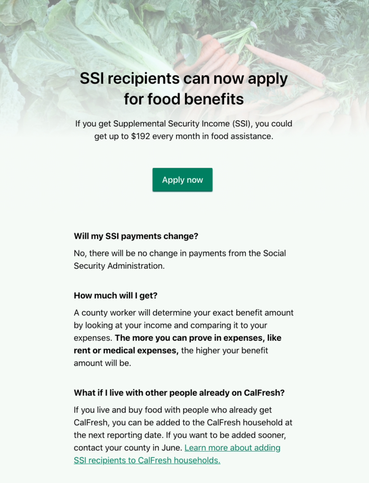 A screenshot of the new customized landing page to GetCalFresh for SSI recipients.​