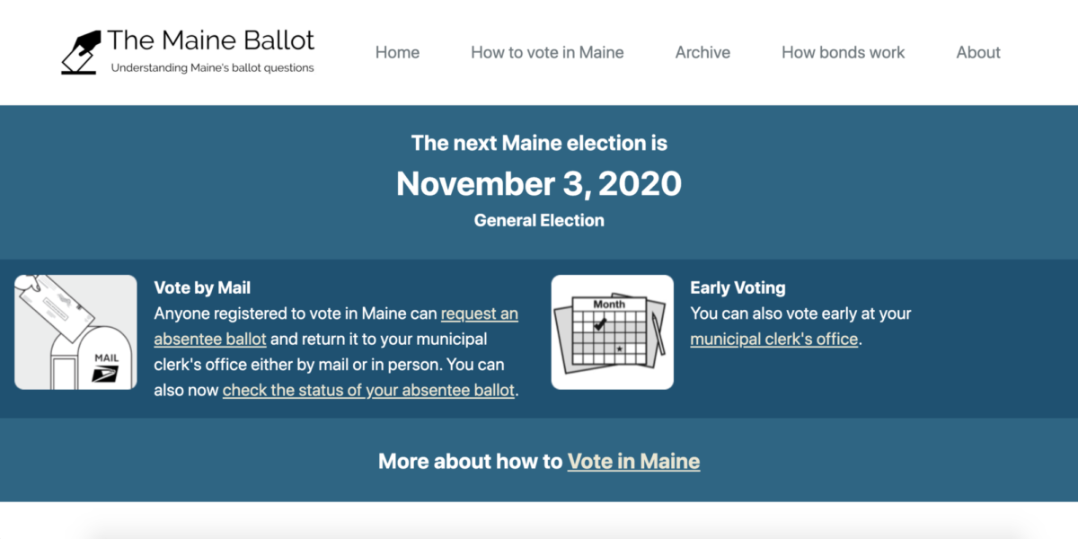 MaineBallot.org homepage