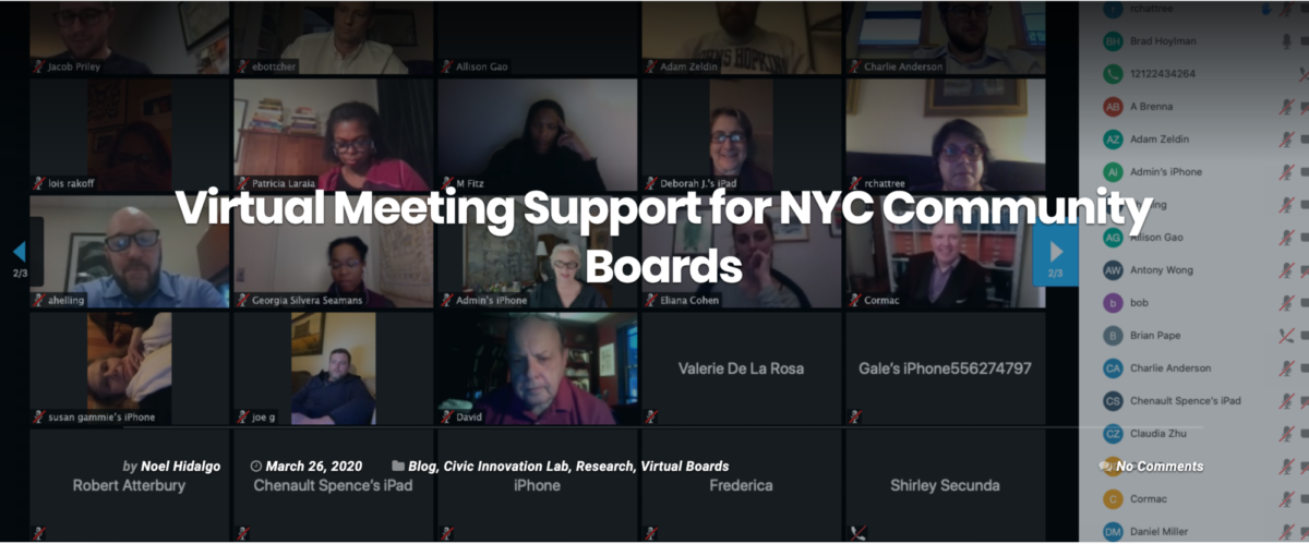 Screenshot of a public Zoom meeting in New York City