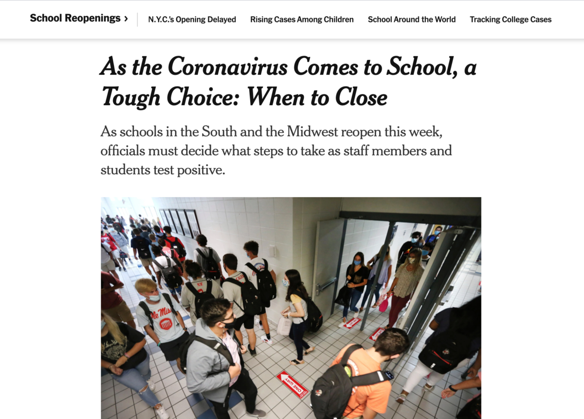 Screenshot of New York Times article on school re-openings