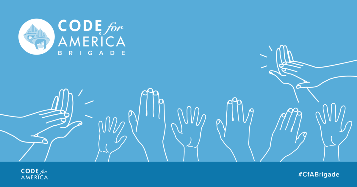 Illustration of raised and clapping hands with the Code for America Brigade logo