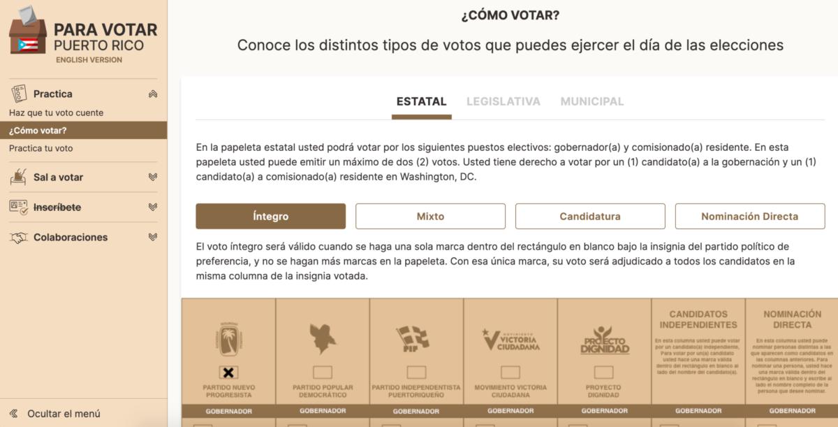 Screenshot of explainer text and sample ballot