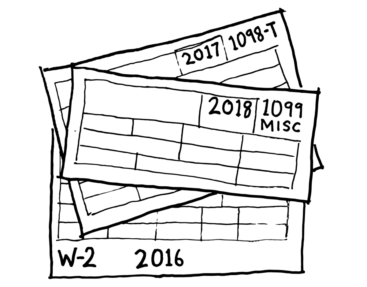 Sketch of different types of tax forms dating back several years.