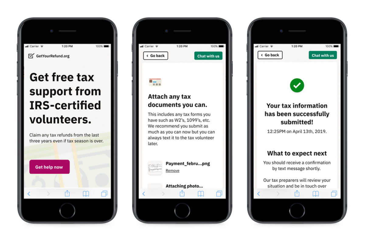 """A mobile phone screen that reads """"Get free tax support from IRS-certified volunteers"""""""