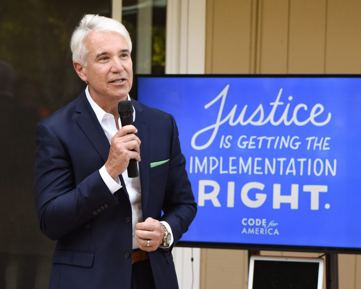 San Francisco DA George Gascon speaks at a Code for America event in 2018.