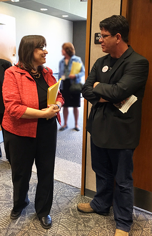 <p>Montgomery County Treasurer, Carolyn Rice with Code for Dayton volunteer, Dave Sparks</p>