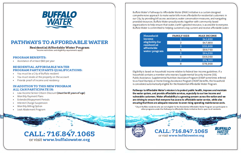 <p>Flyer for Pathways To Affordable Water and the Residential Affordable Water Program</p>