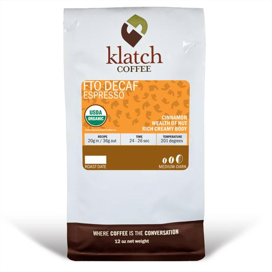 Klatch Coffee Decaf Espresso Blend Fair Trade Organic