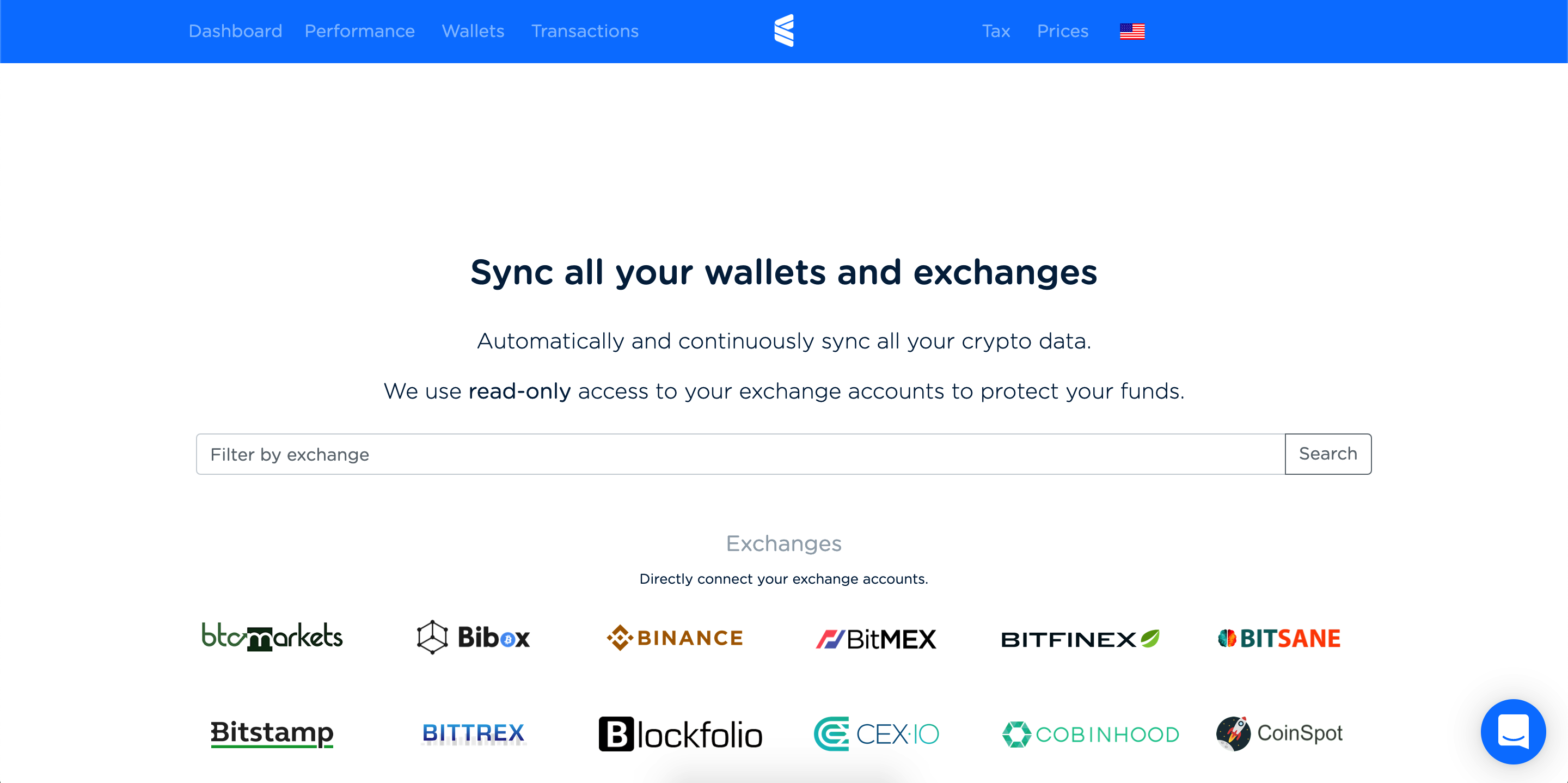 Exchanges Screenshot