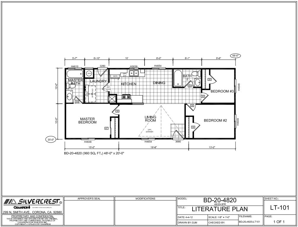 Floor Plan Layout Bradford 20 Wide Bd20