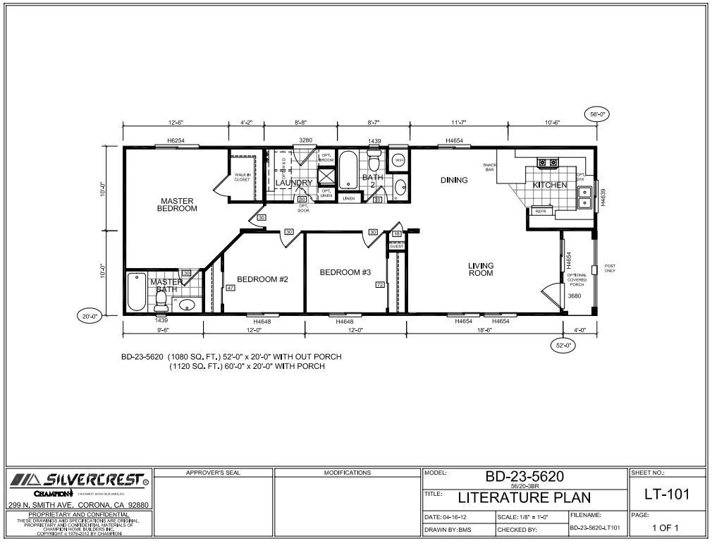 Floor Plan Layout Bradford 20 Wide Bd23