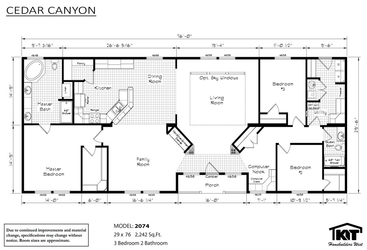 Floor Plan Layout: Cedar Canyon/2074