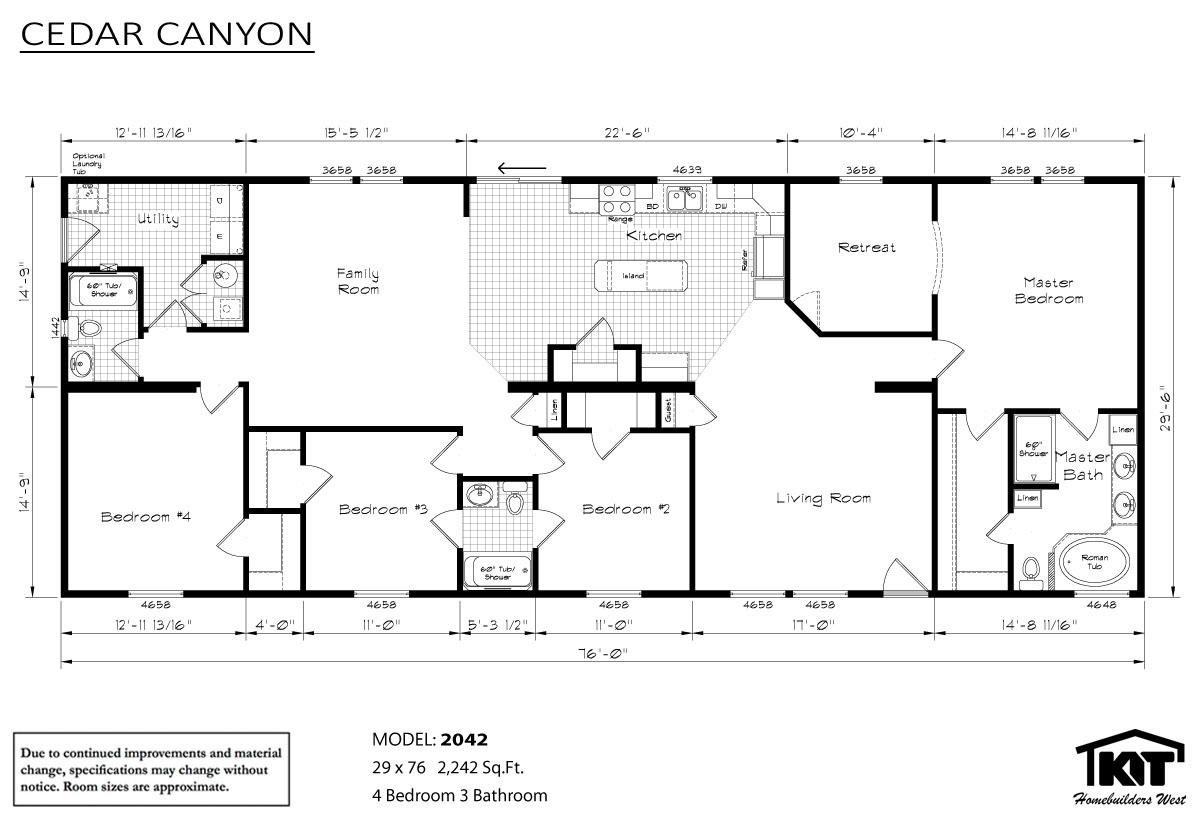 Cabin creek homes for Cedar cabin floor plans