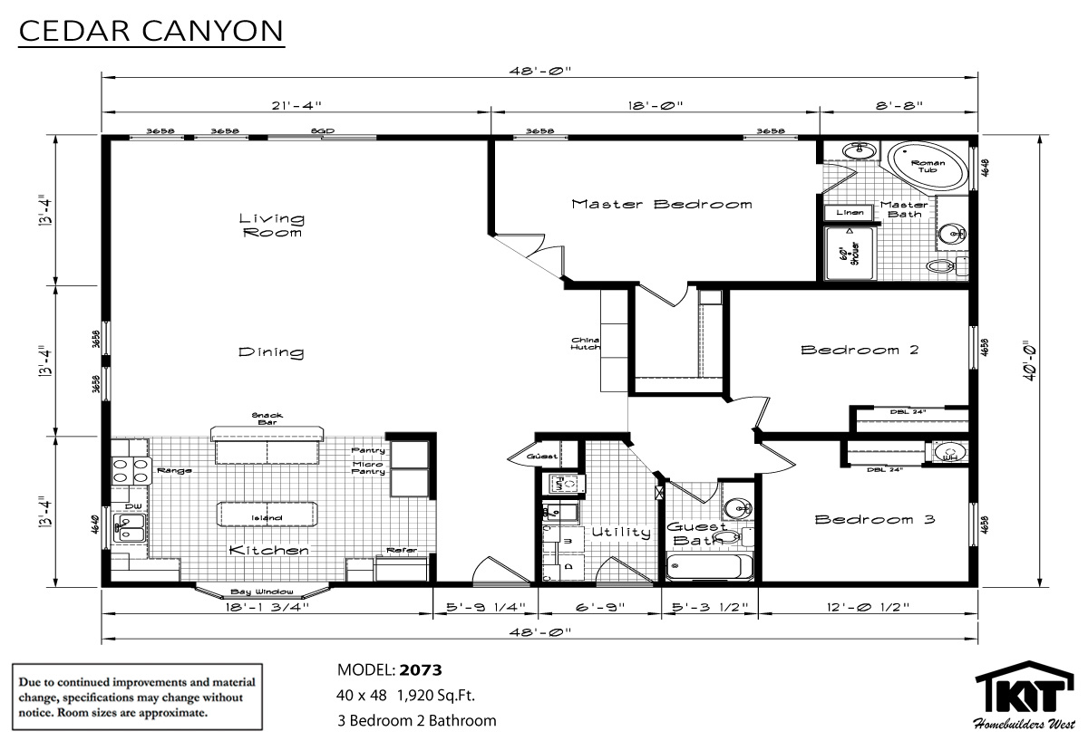 Floor Plan Layout: Cedar Canyon/2073