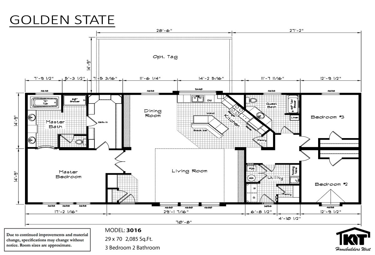 Golden state 3016 home by american home store American west homes floor plans