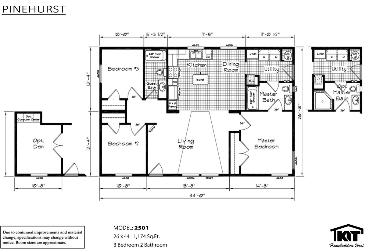 Pinehurst 2501 home by american home store for American west homes floor plans