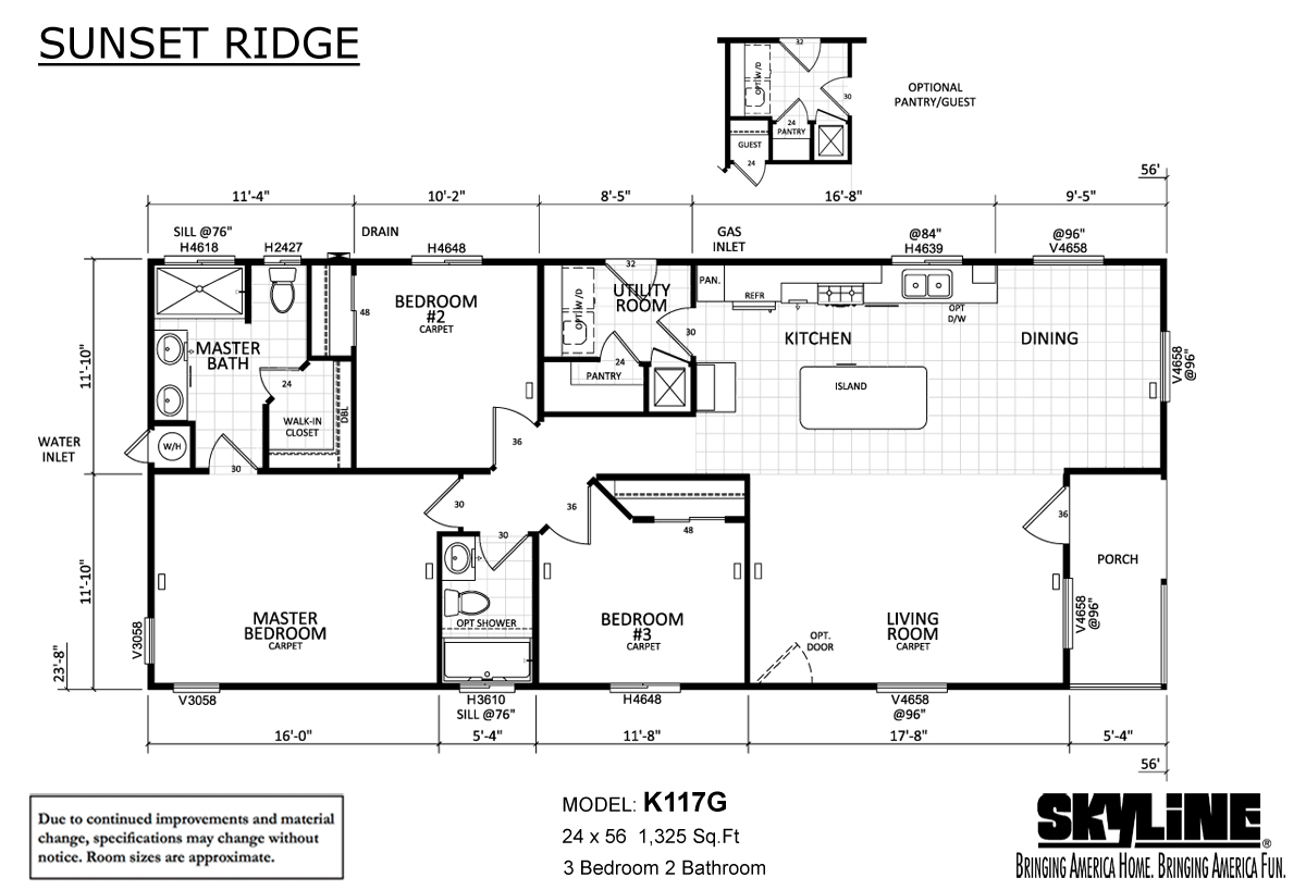 Floor Plan Layout: Sunset Ridge / K117G