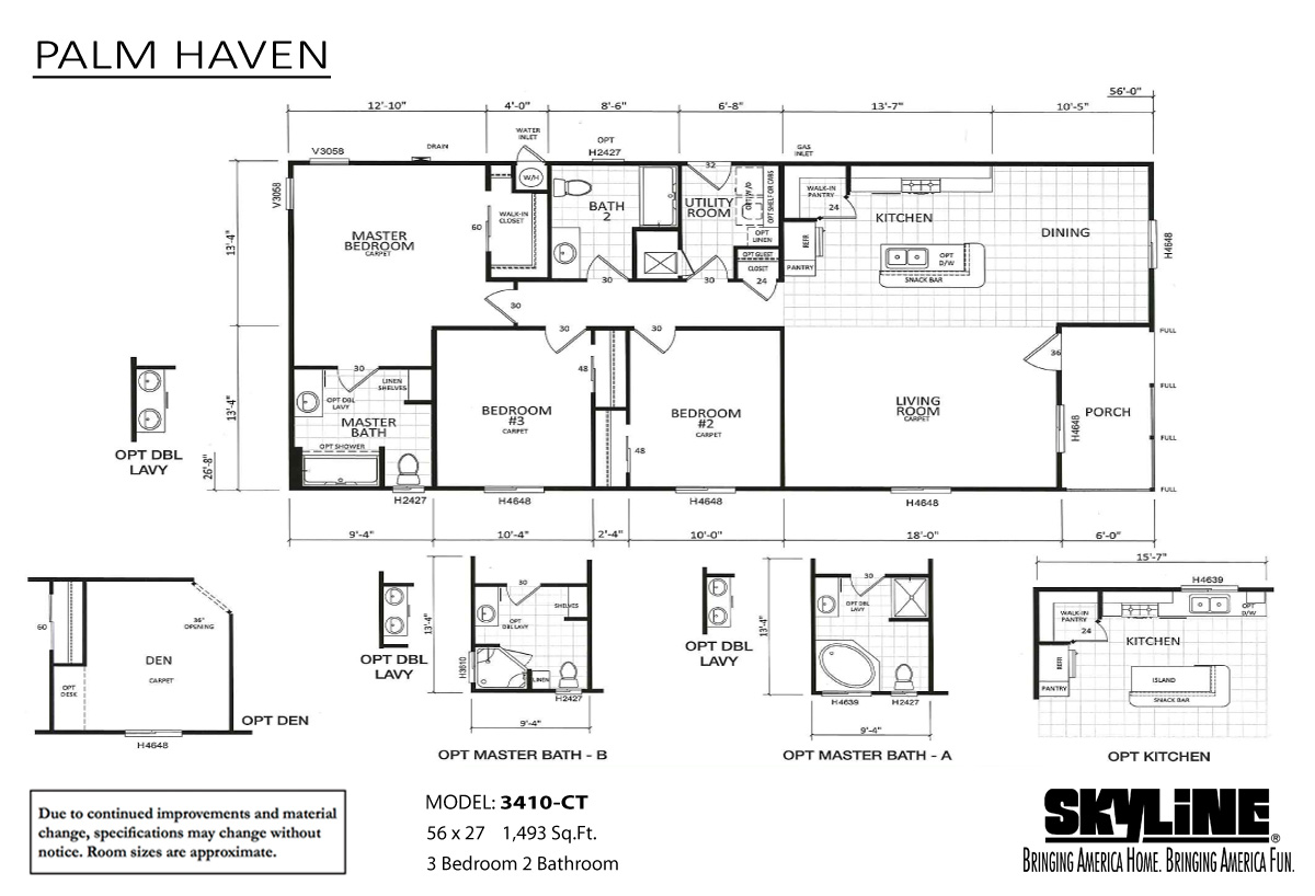 Floor Plan Layout: Palm Haven / 3410-CT